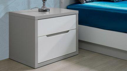 Mesa de Cabeceira Viena Cinza/ Branco