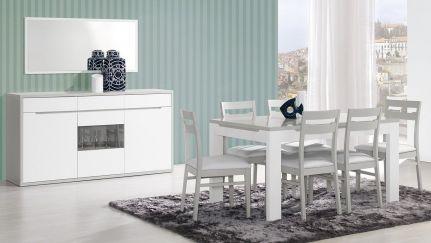 Sala de Jantar Viena Cinza/ Branco